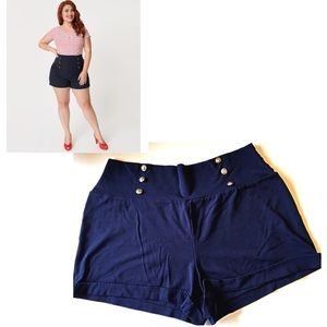 Vamp Sailor Shorts Pinup Blue Stretch High Waisted